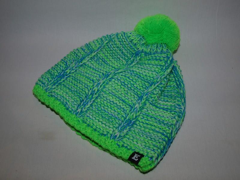 30275834656 Zimní čepice s bambulí melír zelená   modrá   bílá